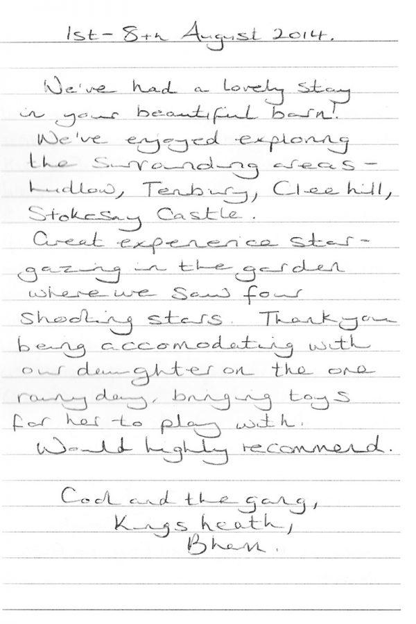 Glebe Barn Ludlow Testimonials
